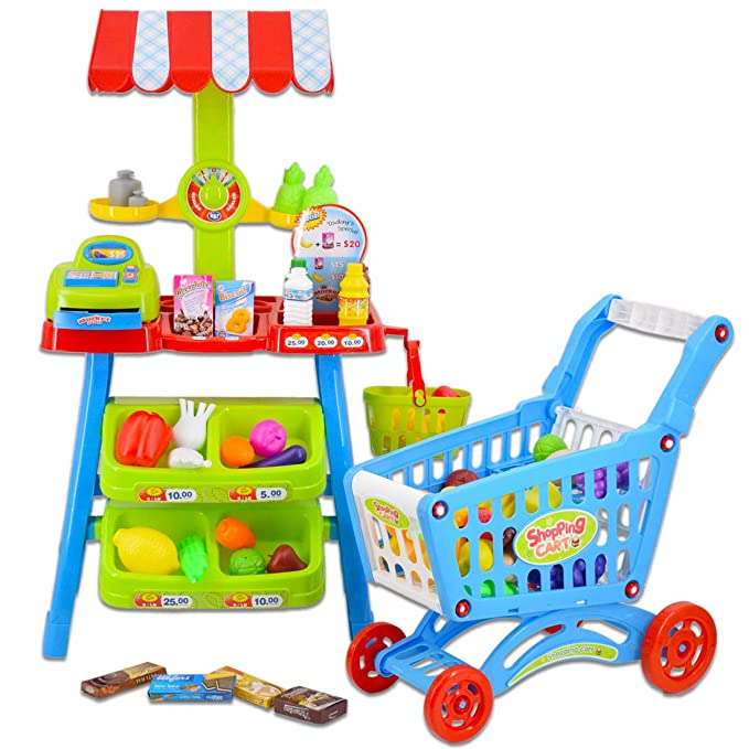 deAO Supermercado Puesto de Mercado - Tienda de Alimentos con Carrito de la Compra, Más de 70 Accesorios y Productos Incluidos: Amazon.es: Juguetes y juegos