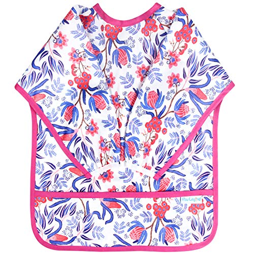 Paw Legend Long Sleeved Baby Bib - Waterproof Bib for Babies - Toddler bib (6-24 Months) with Pocket, Flower