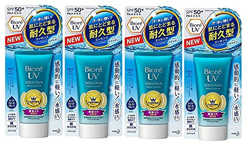Biore UV Aqua Rich Watery Essence SPF50+ / PA++++ 50g 2017 new model / 1.75oz ( set of 4 (Royal Jelly 50 Capsules)