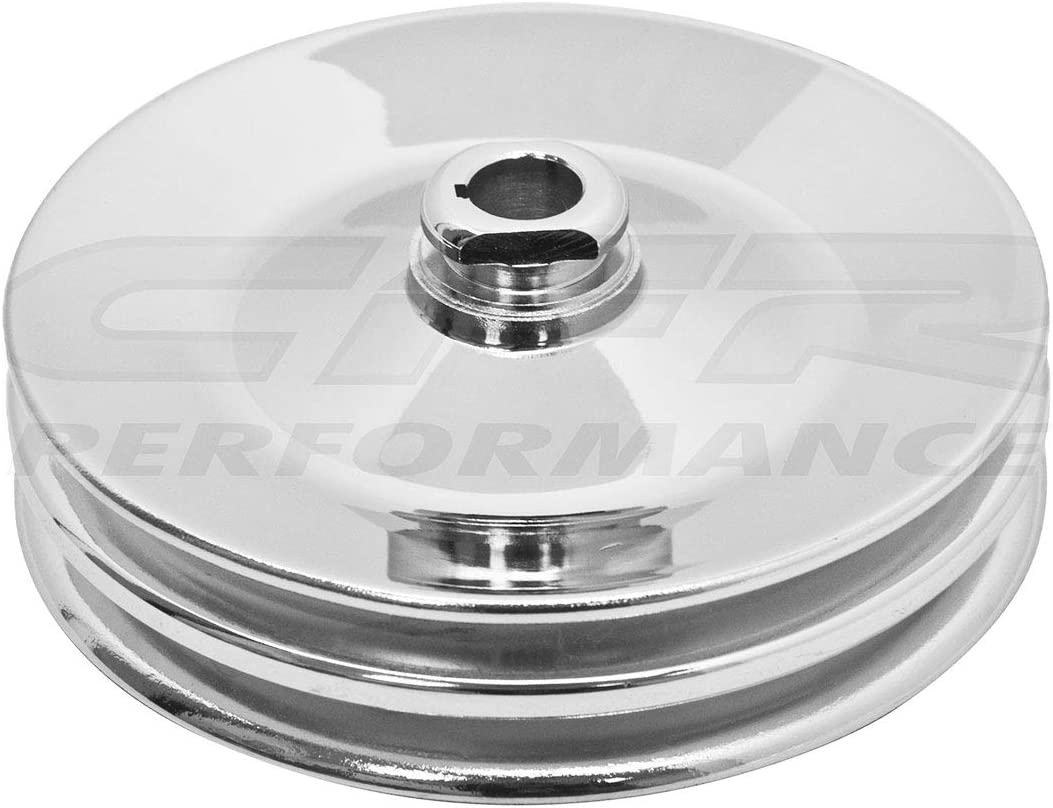 Fits Chevy GM Key Way Power Steering Pump Pulley 2 Groove V Belt Steel Chrome