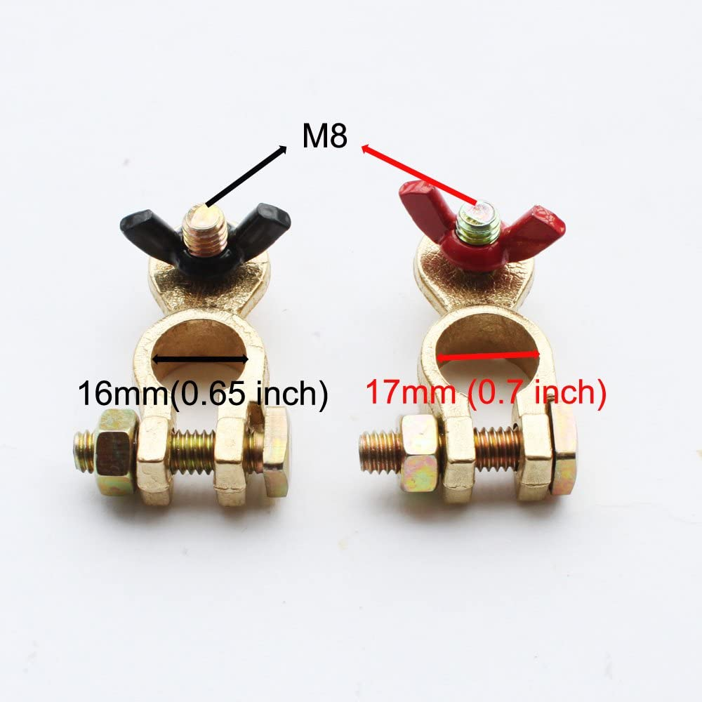 X-Haibei Battery Terminal Connectors Pair of Wing Nut Marine Brass Battery Terminal Clamps Pos//Neg Stud Size M8 Black Red Ends for Boat RV Car