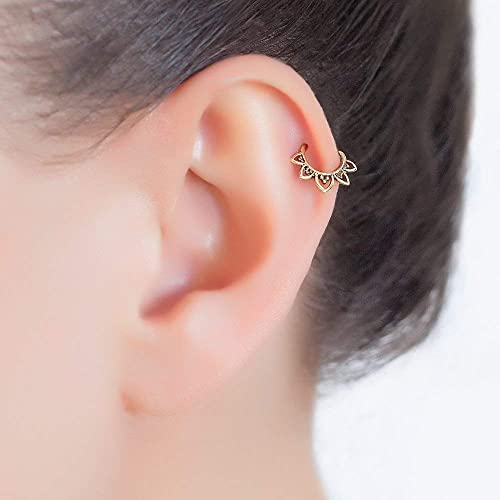 Brass Cartilage Earring Tribal Indian Hoop Ring Piercing Fits Also Helix Tragus Rook Lotus Shaped 20g Handmade Jewelry