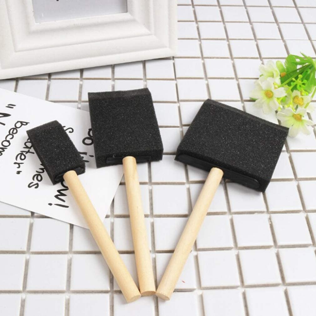 Weiy Paint Foam Brush,Wooden Handle DIY Painting Sponge Brushes Arts Crafts Drawing Tools