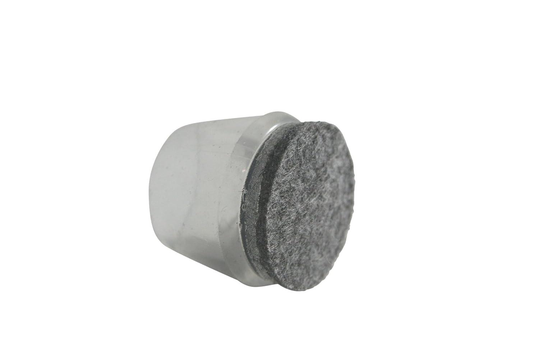 GLEITGUT 4 x Stuhlkappen mit Filz-Gleitfl/äche transparent Fusskappen Filzgleiter f/ür Stahlrohr 21-23 mm