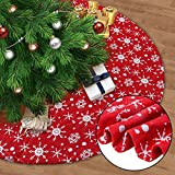 Juegoal 48' Red Christmas Tree Skirt with Snowflakes, Traditional Christmas Tree Mat Double Layers for Xmas Party Decoration