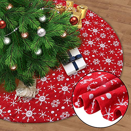 Juegoal 48 Red Christmas Tree Skirt with Snowflakes, Traditional Christmas Tree Mat Double Layers for Xmas Party Decoration