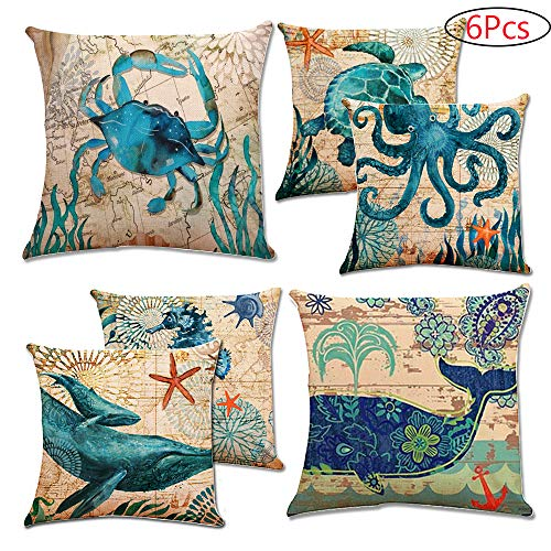 CDWERD 6pcs Sea Theme Throw Pillow Covers Mediterranean Style Outdoor Decorative Linen Coastal Cushion Case 18 X 18 Inch for Home Decor