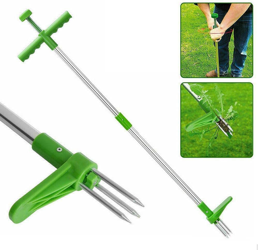 LUREASY Stand-Up Weeder Root Removal Tool with 3 Stainless Steel Claws,Grandpas Standing Plant Root Manual Remover,Weed Puller Garden Hand Tool, with 39