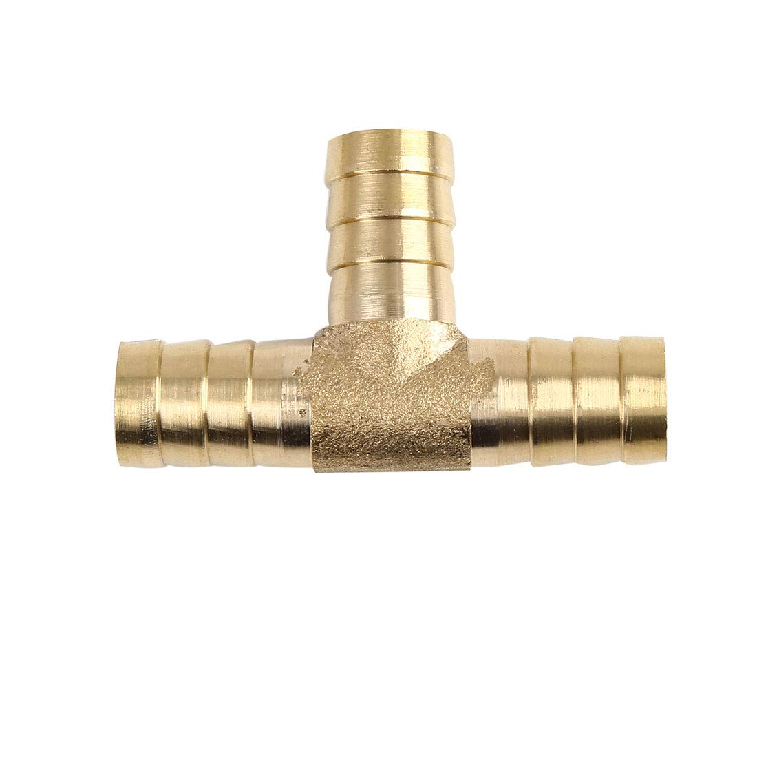 X AUTOHAUX 16mm Hose Barb Brass 3 Way Tee Connector Adaptor for Air Water Gas Oil Pipe 5pcs