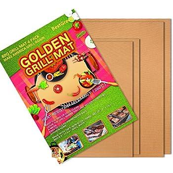BestGreen Copper Grill Mat Golden Grill Mats and Bake Mats (4pcs) - 100% Non-stick BBQ Grill Mats