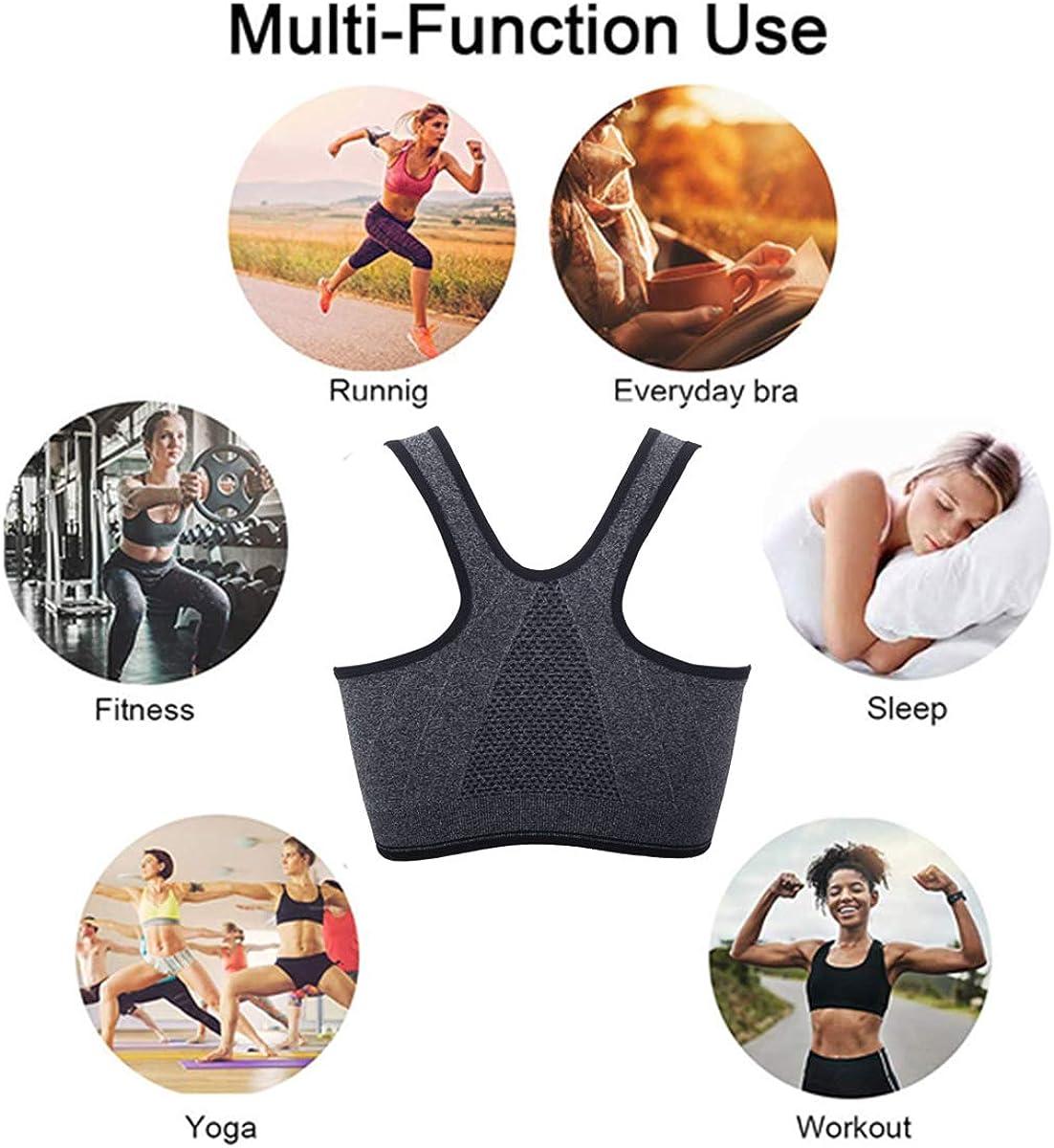 Women Medium Impact Sports Bra Padded Zipped Seamless Racerback Wirefree Yoga Bra
