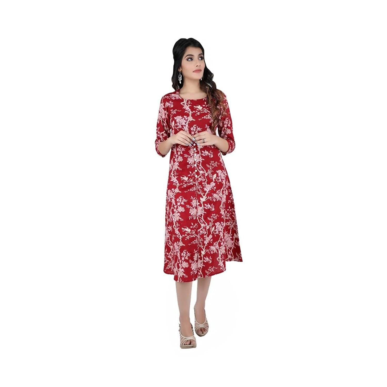 Cotton Floral Printed One-Piece Dress For Women & Girls (Red)