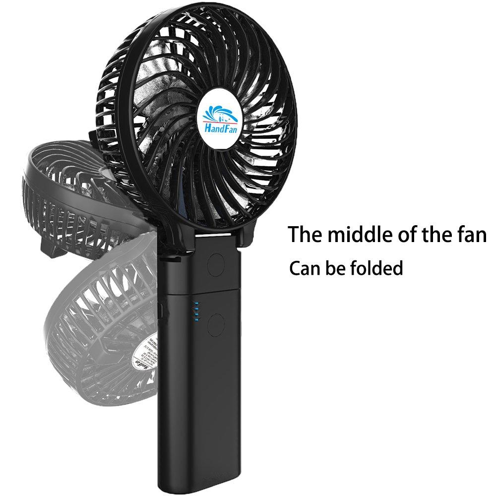 HandFan Portable Handheld Fan, Mini Hand Fan/Small Desk Fan Folding Change 5-18 Hours Working Time Personal Fan Rechargeable Battery/USB Operated Electric Fan Handle is 5200mA Power Bank(Power Black) by HandFan (Image #4)