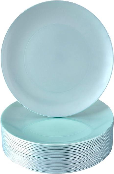 Amazon Com Disposable Salad Plates 40 Reusable Plastic Dishes Opulence Mint 9 Kitchen Dining