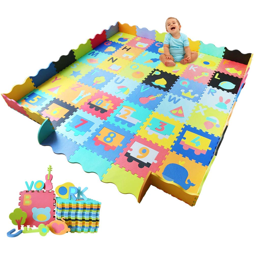 Baby Foam Play Mat with Fence – Interlocking Alphabet Crawling Mat with 36 Foam Floor Tiles