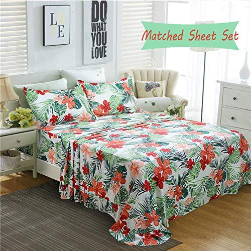 FADFAY Hawaiian Style Red Hibiscus Palm Leaves Tropical Duvet Cover Set Summer Bedding Super Soft 100% Cotton,1 Duvet Cover & 2 Pillow Shames, King Size