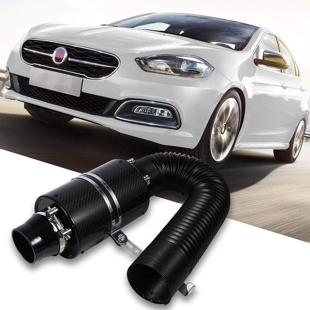 Air Filter Universal Car 3 Carbon Fibre Cold Air Filter Feed Enclosed Intake Induction Pipe Hose Kit