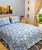 Bombay Dyeing Mistyrose 140 TC Polycotton Double Bedsheet With 2 Pillow Covers-Blue