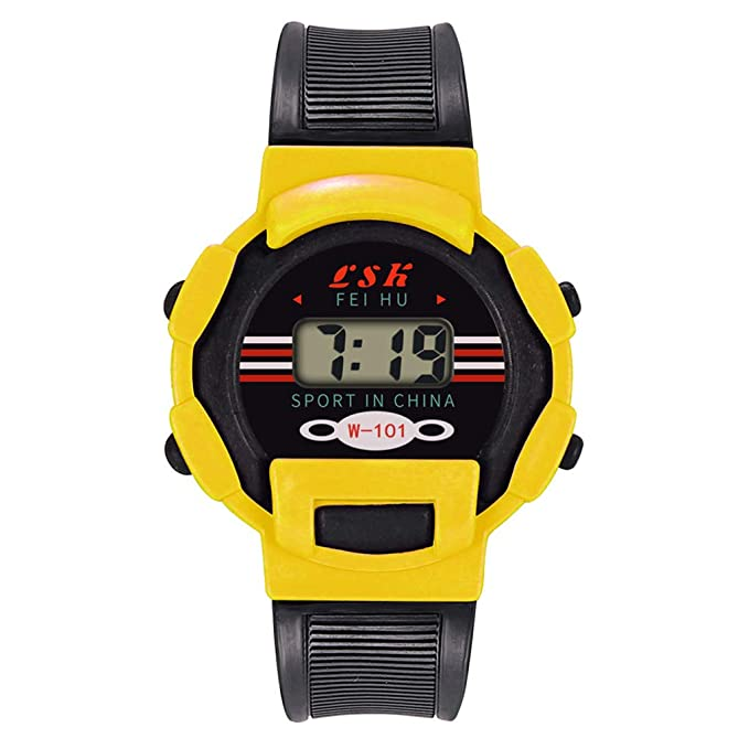 BBestseller Relojes Deportivo Infantil electrónico -Impermeable de Reloj con Alarma Cronómetro Inteligente LED Pulsera Inteligente Podómetro (Amarillo): ...