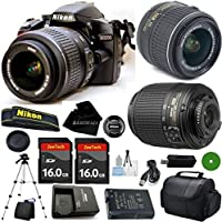 D3200 24.2 MP CMOS Digital SLR, NIKKOR 18-55mm f/3.5-5.6 Auto Focus-S DX VR, 55-200mm f4-5.6G ED Auto Focus-S DX Nikkor, 2pcs 16GB BaseDeals Memory, Camera Case