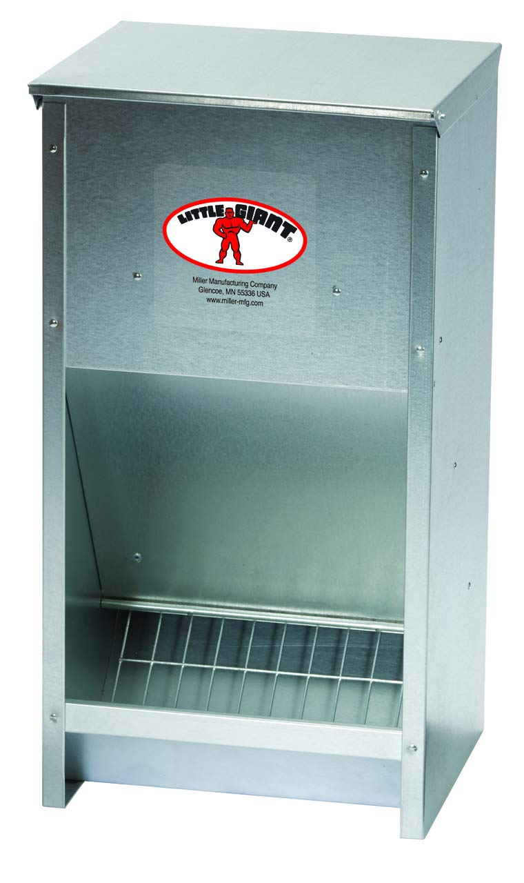 Little Giant Large Steel Poultry Feeder Galvanized High Capacity Poultry Feeder, 25 lbs (Item No. 171267)