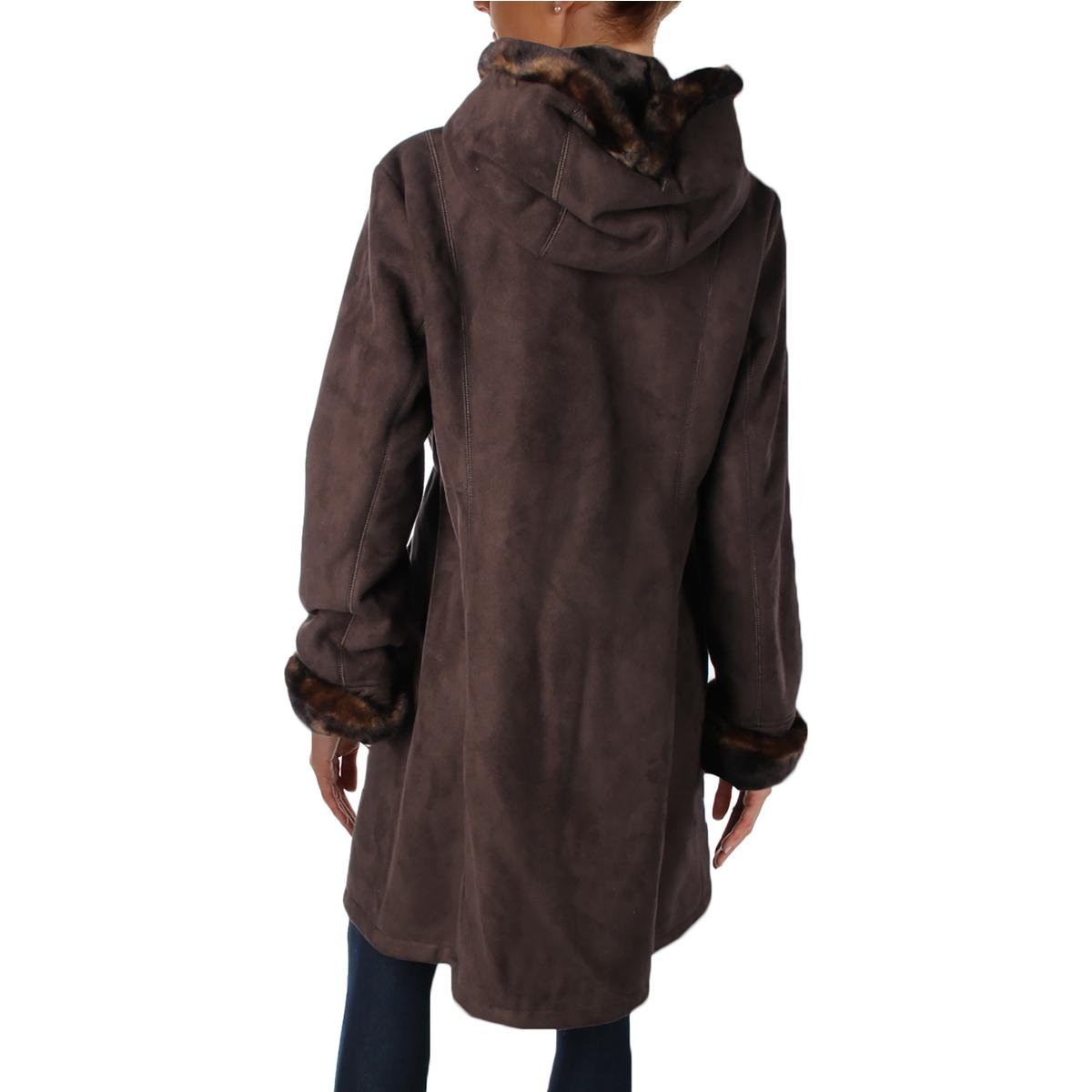 Gallery Womens Petites Faux Suede Faux Fur Lined Pea Coat Brown PL by Gallery (Image #2)