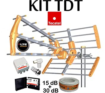 KIT ANTENA TECATEL BKM-15 NARANJA + ROLLO CABLE TELEVES DE 20MT + CONJUNTO AMPLIFICADOR
