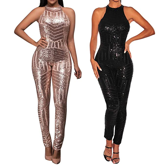 51f50312742 Amazon.com  Respctful ❈ Clothing for Woman Off Shoulder Sleeveless Jumpsuit  Sexy V Neck Sparkly Shining Rompers Party Clubwear  Clothing