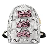 Liliam Women Girls Dazzling Sequins Backpack Daypack Shoulder Travel Mini Bag Satchel Totes(Silver) For Sale