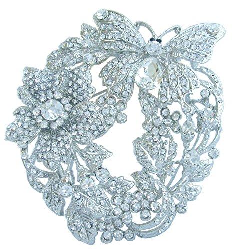 erfly Flower Brooch Pin Pendant Rhinestone Crystal BZ4489 (Silver-Tone Clear) ()