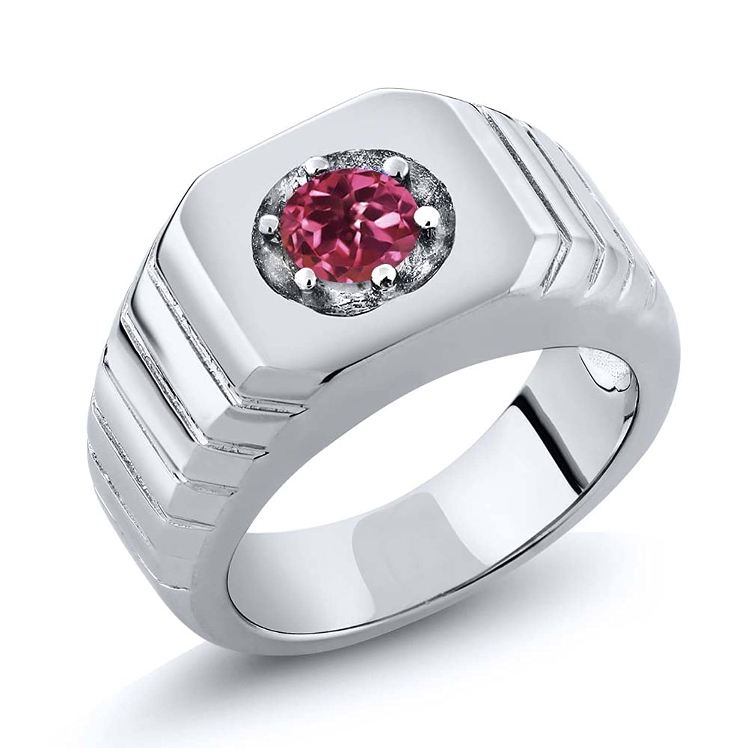 0.50 Ct Round Pink AAA Tourmaline AAA 925 Sterling Silver Men's Solitaire Ring