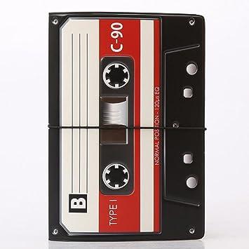 /Étui en Cuir pour Passeport Motif Cassette Noir//Blanc