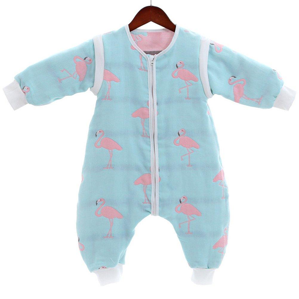 EsTong Baby Muslin Sleeping Bag Detachable Sleeve Zip Up Wearable Blanket Green 70cm by EsTong