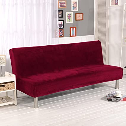 LINGJUN Wine red Plush Folding Sofa Cover for Armless Furniture