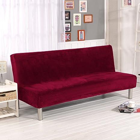 Funda de futón de color sólido, de felpa plegable, sin reposabrazos. Funda moderna y simple para muebles plegables. Protector de sofá