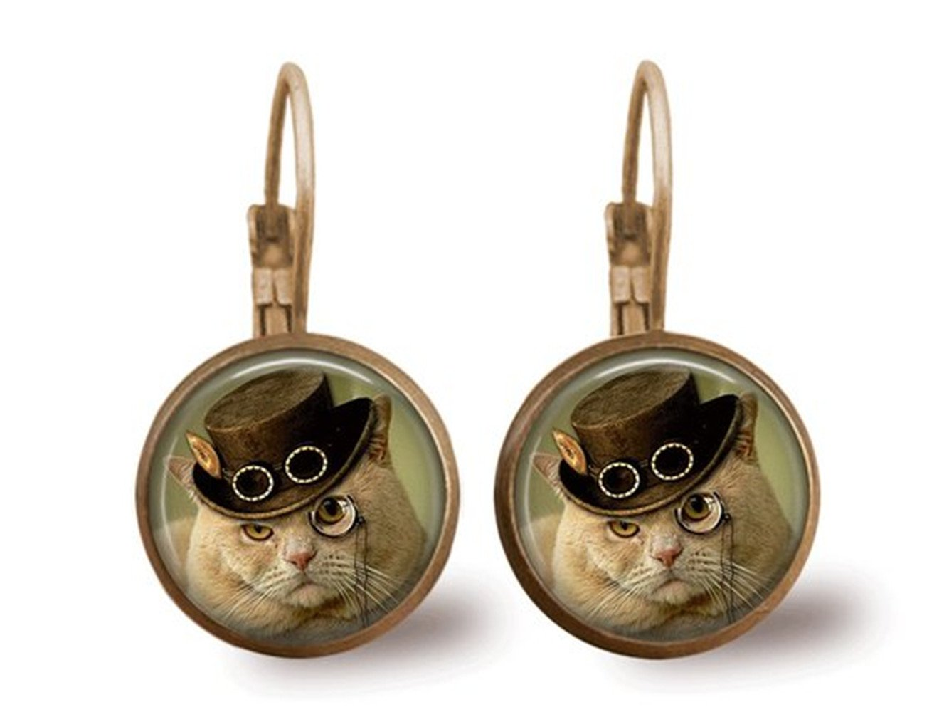 Cat Earrings Steampunk Earrings Steampunk Jewelry