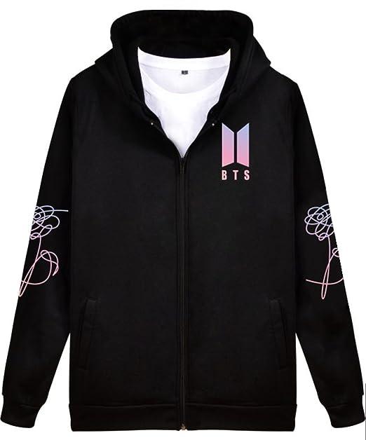 EMILYLE Unisex Love Yourself Sudadera con Capucha Bangtan Boys BTS Fans KPOP Hoodie Moda Deportiva Zip Coat: Amazon.es: Ropa y accesorios