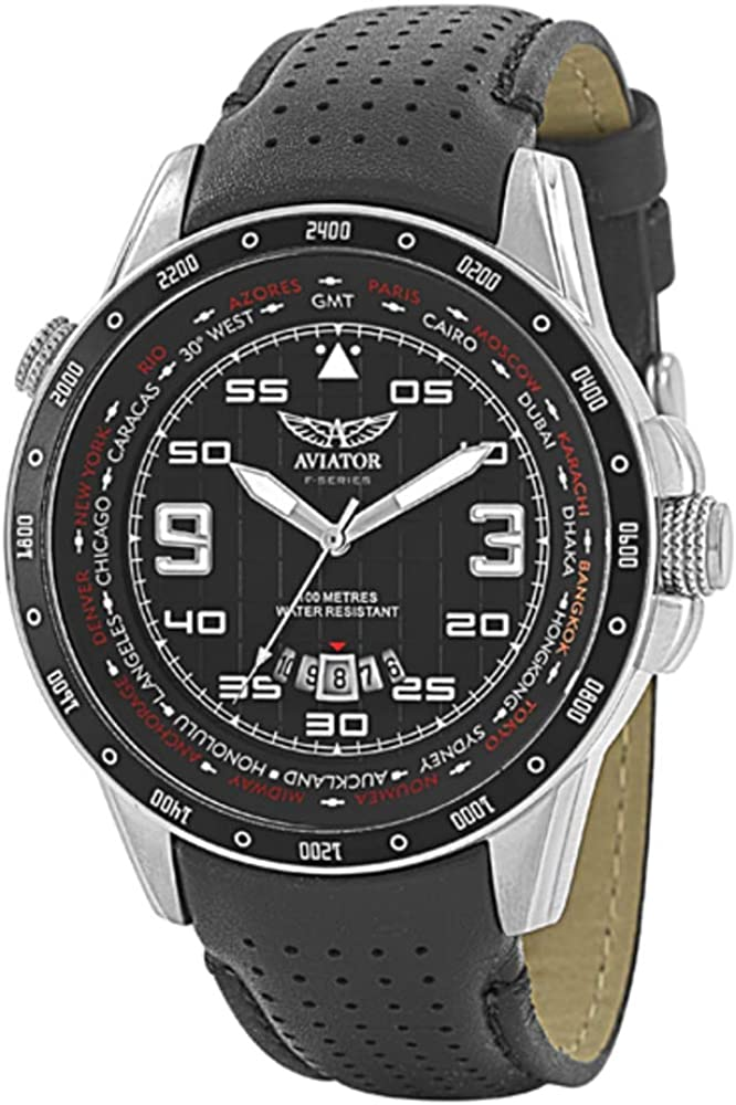 AVIATOR Flight Series Watch for Men – Aviators Pilot Writswatch for Mens – Leather Strap Stainless Steel QuartzTimepiece – Waterproof Black Dial Watch – Sport and Casual Comfortable Wrist Watch