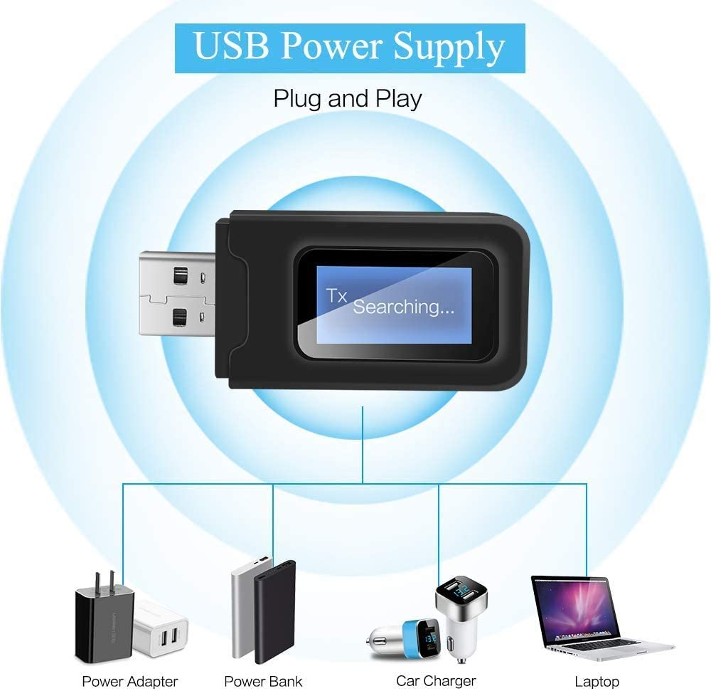 2-in-1 Portable Wireless Bluetooth Adapter with LCD Display//3.5mm AUX Stereo Output for Wired Speakers//TV//PC//Home//Car Stereo Sound System Srhythm Bluetooth 5.0 Transmitter and Receiver