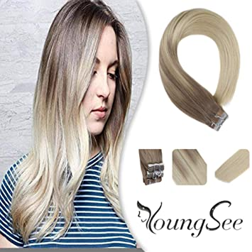Amazon.com: Youngsee - Extensiones de cabello humano real ...