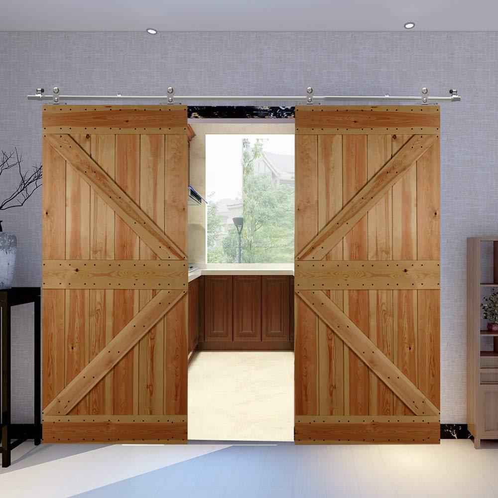 CCJH Kit de herramientas para puerta corredera de granero de acero inoxidable con sistema de pista de estilo moderno kit de doble puerta corredera de madera