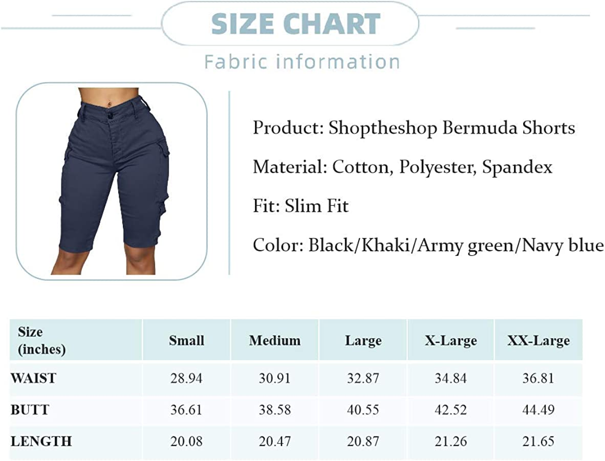 Lunyu Womens Bermuda Cargo Shorts Summer Casual Straight Leg Hiking Outdoor Short Pants with Pockets