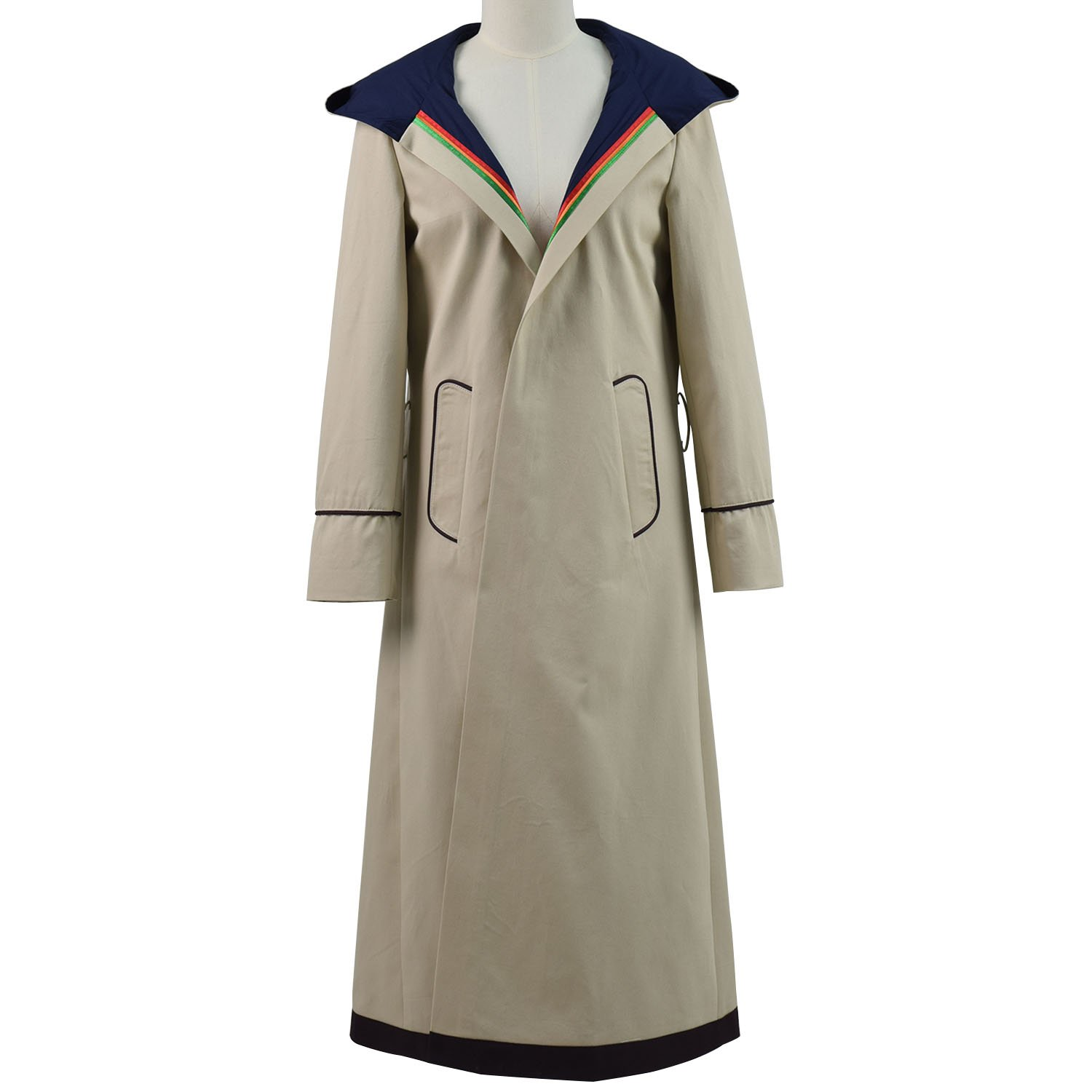 VOSTE Who Is Doctor thirteenth 13th Dr. Cosplay Costume Beige Coat For Women (Custom-Made, Beige)
