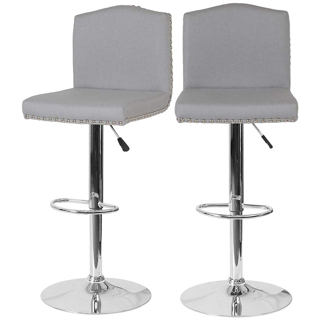 Set of 4 Modern Design Bar Stool 360-Degree Swivel Sturdy Chrome Bases Upholstery Padded Cushion Seat Arched Back Design Seats Dining Chair Restaurant Home Office Furniture - Light Grey Fabric/2236