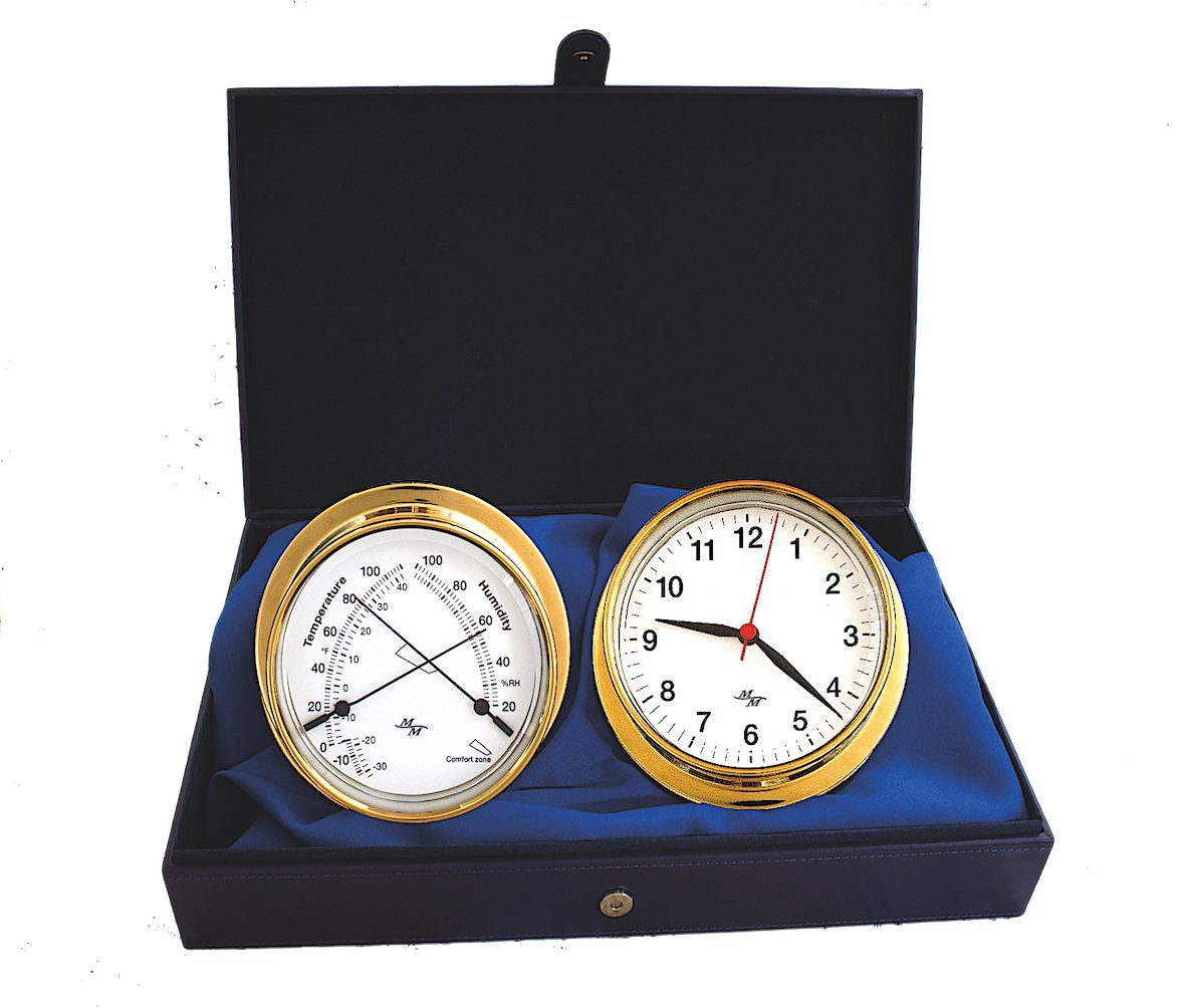 "Nautical Cabin Gift Set Master-Mariner First Light Collection Gold Finish 5.75/"" Diameter Clock and Comfort Meter Instruments Classic White dial"