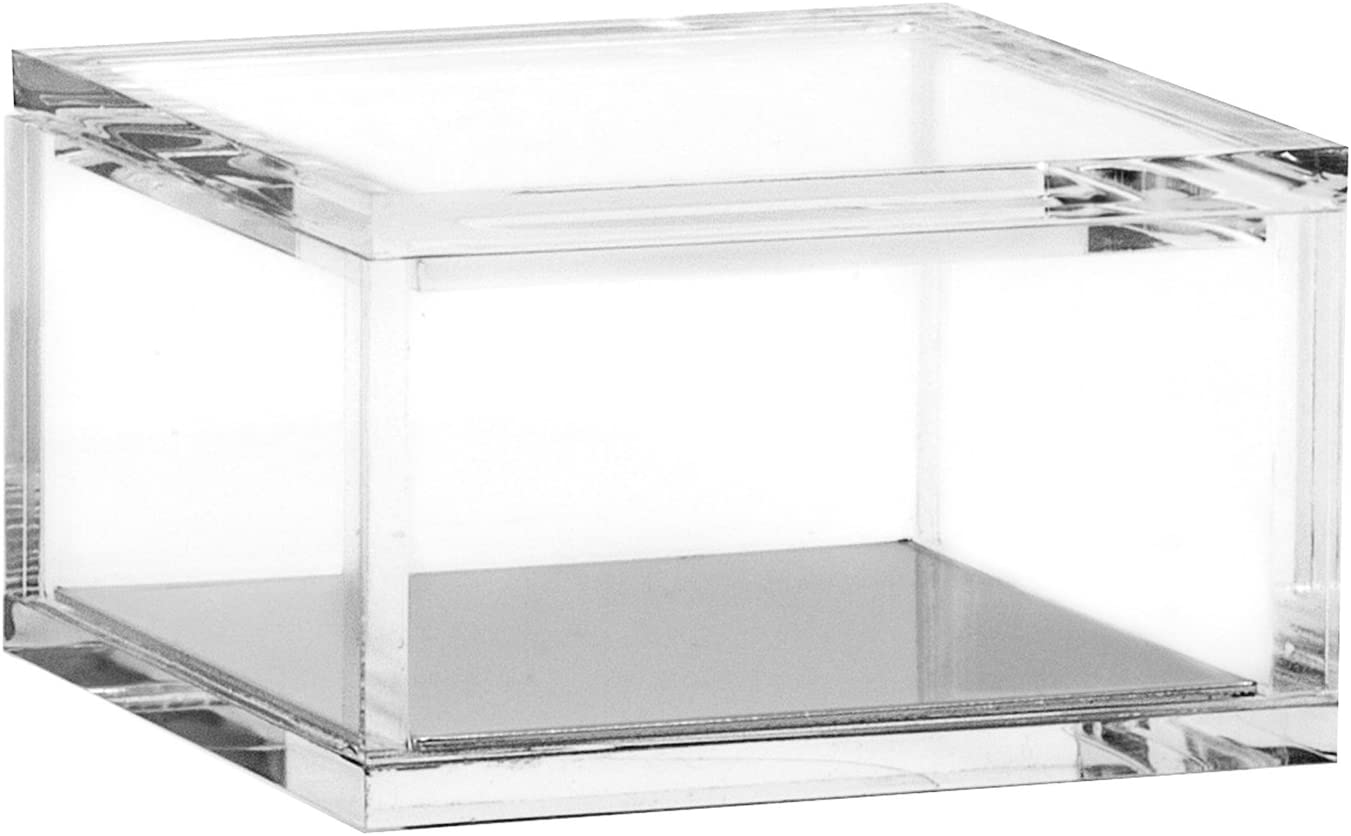 OfficeGoods Acrylic & Silver Odds & Ends Box - Office or Home Accessory - Perfect Container for Storage or for Display - an Elegant Addition to Your Desk, Kitchen or Vanity (Small)