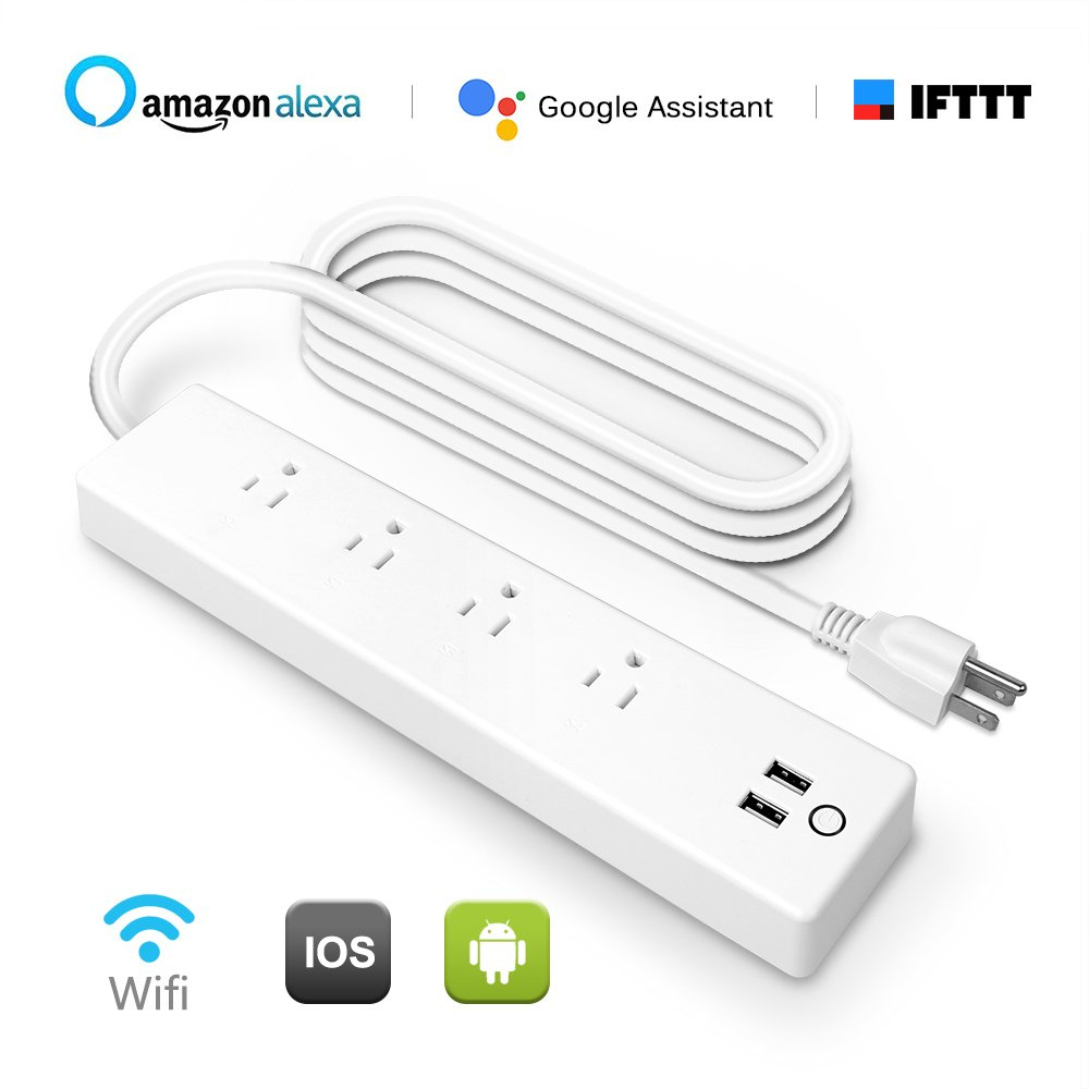 HLT Wifi Smart Power Strip Surge Protector Compatible with Alexa Google Assistant, Smart Multi Plug Outlet with 4 Outlet and 2 USB Port