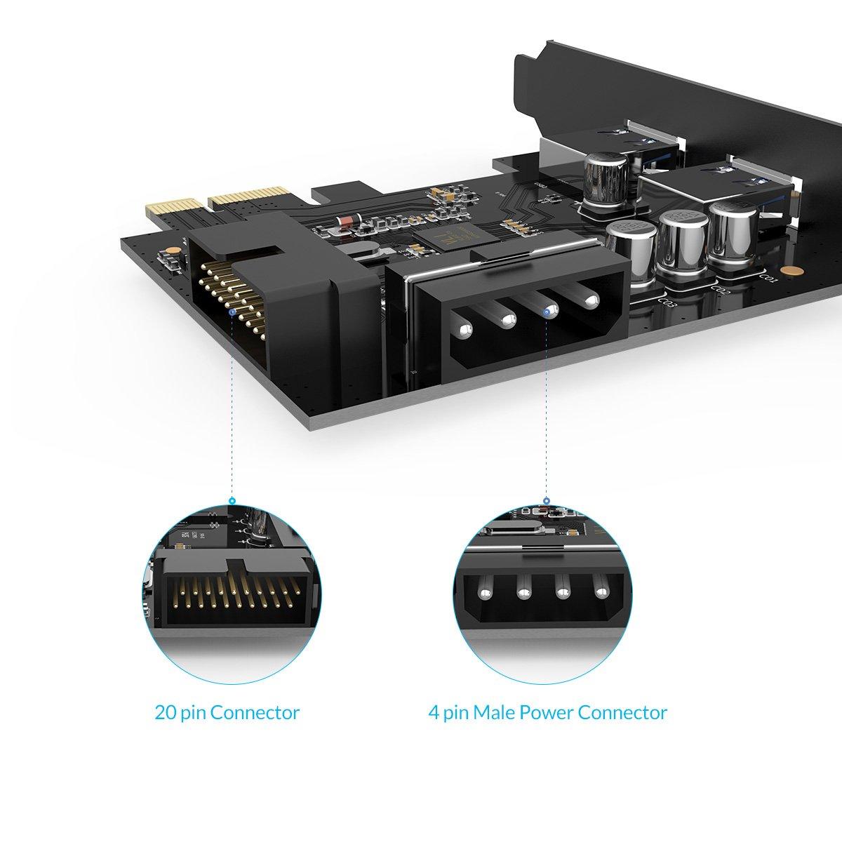 Update Version PVU3-2O2I-V1 ORICO Super-Speed USB 3.0 PCI-E Expansion Card Adapter PCI-E USB 3.0 HUB Controller Adapter Card