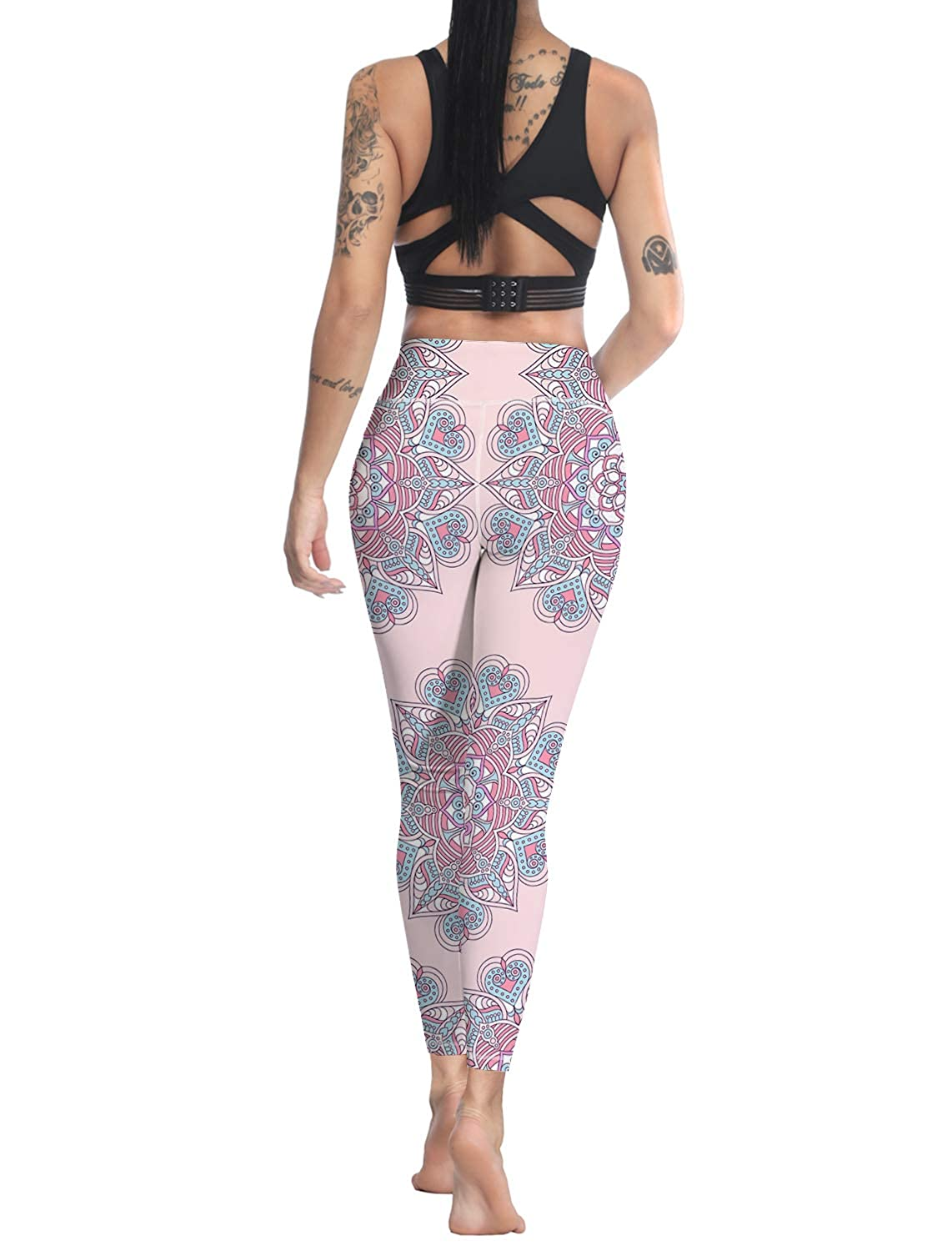 Custom Leggings Women High Waist Soft Yoga Workout Stretch Printed Vintage Pattern Stretchy Capris Pants