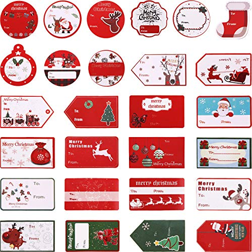 Gejoy 180 Pieces Christmas Self Adhesive Gift Tags Christmas Labels Decorative Stickers for Christmas Decoration Supplies